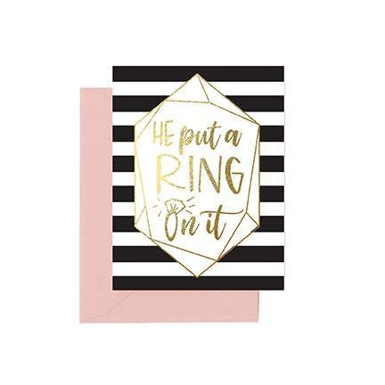 Mary Square Greeting Cards - He Put A Ring On It