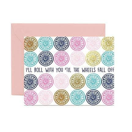 Mary Square Greeting Cards - Til The Wheels Fell Off