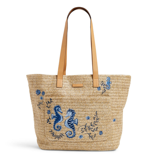 Front Pocket Straw Tote Bag in Natural Sea Life