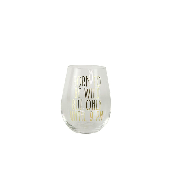 Glass Wine Stemless- Born To Be Wild