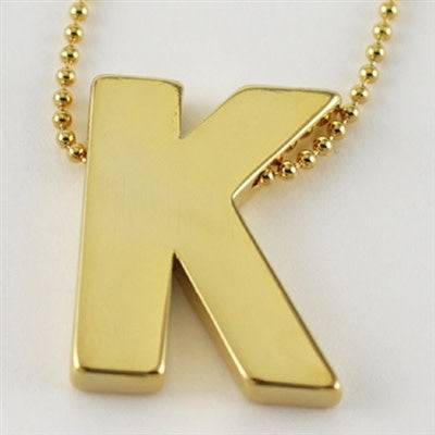 Large Gold Block Initial Necklace, K