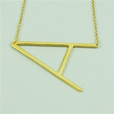 Gold Sideways Initial Necklace - A