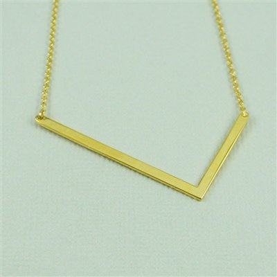 Gold Sideways Initial Necklace - L