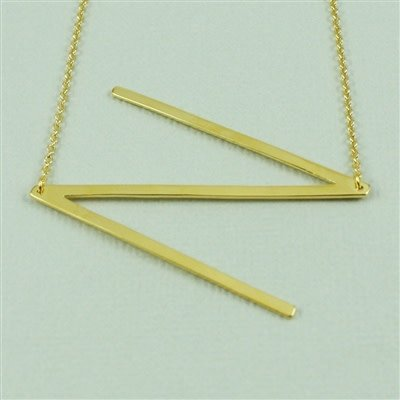 Gold Sideways Initial Necklace - N