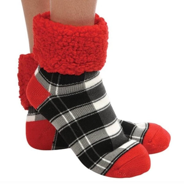 Plaid Cuffed Sherpa Lined Red Sock