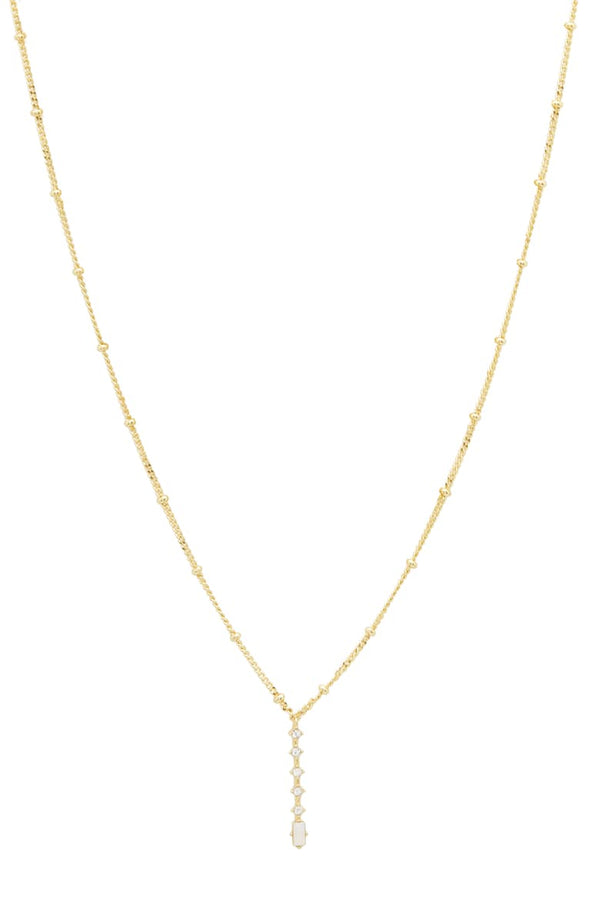 Dani Lariat, White Iridescent Crystal, Gold