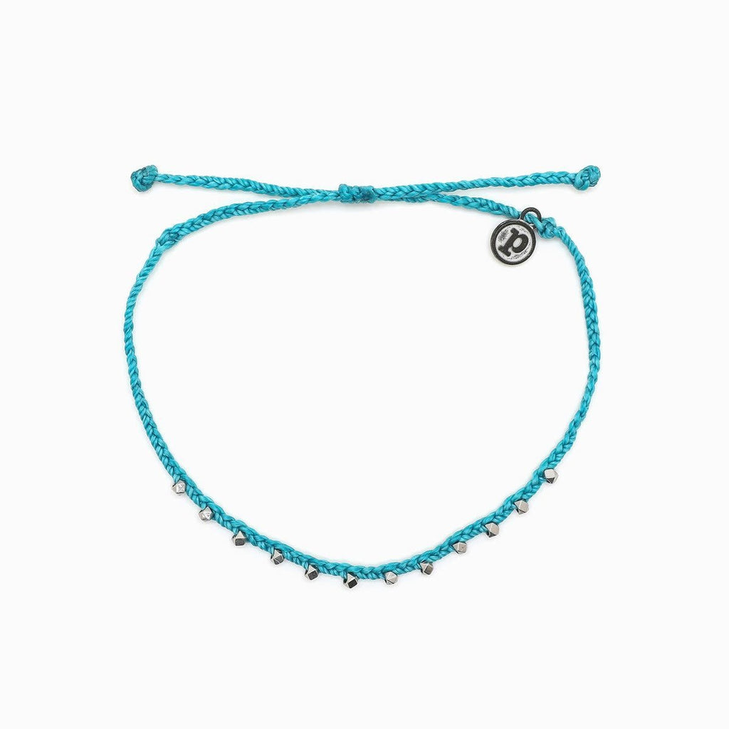 Silver Stitched Bead Anklet in Pacific Blue