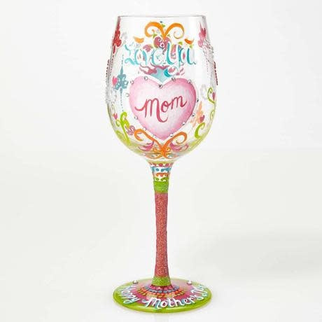 I Love You Mom Wine Glass