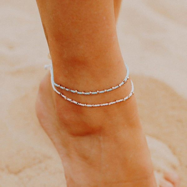 Rose Gold Stitched Bead Anklet, White