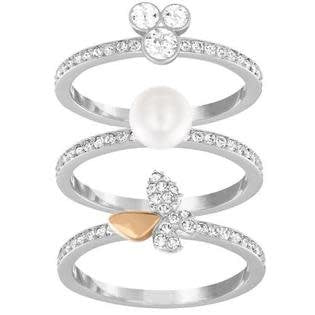 Cute Ring Set, White, Mixed Plating