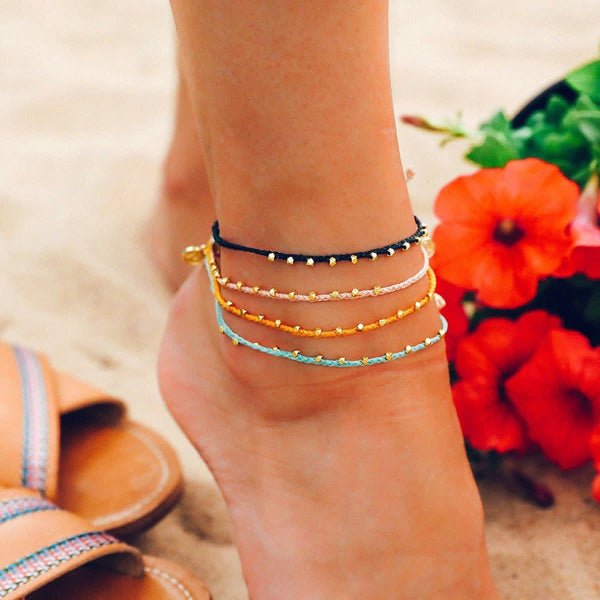 Gold Stitched Beaded Anklet in Blush