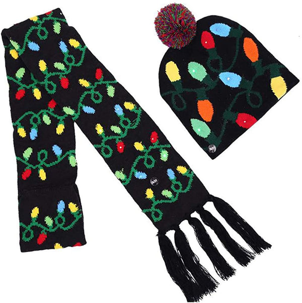 Lotsa Lites! Flashing Holiday Scarf And Hat Set - Xmas Lights