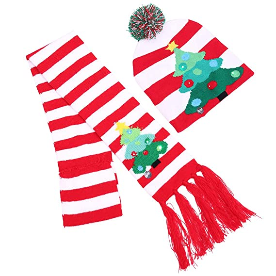 Lotsa Lites! Flashing Holiday Scarf And Hat Set - Striped Xmas Tree