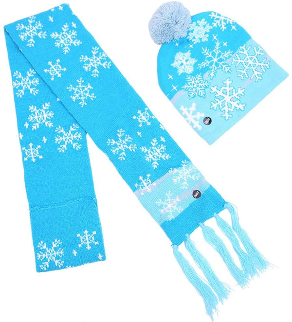 Lotsa Lites! Flashing Holiday Scarf And Hat Set - Blue Snowflakes