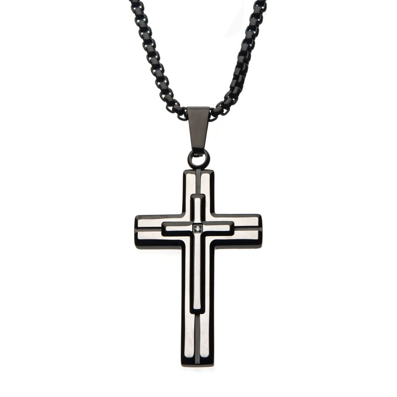 Steel Brushed Black Plated with Clear Gem Cross Pendant with Black Bold Box Chain
