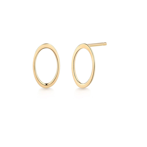 Gold Hollow Oval Gold Studs