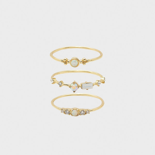 Dani Ring Set, White Iridescent Crystal, Gold - Set of 3
