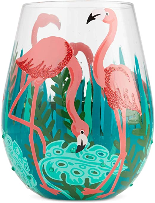 Fancy Flamingo Stemless Wine Glass
