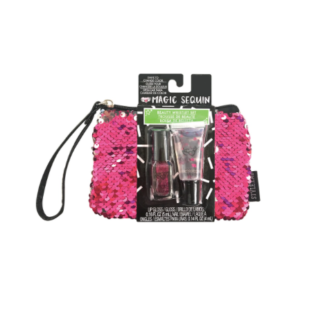 Magic Sequin Beauty Wristlet-Pink/Silver