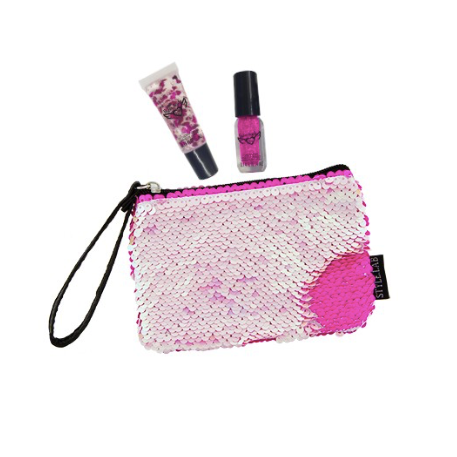 Magic Sequin Beauty Wristlet Iridescent/Bright Pink