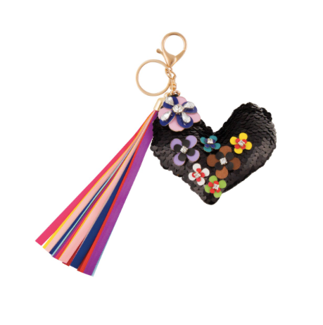 S. Lab Flower Covered Heart Bag Charm