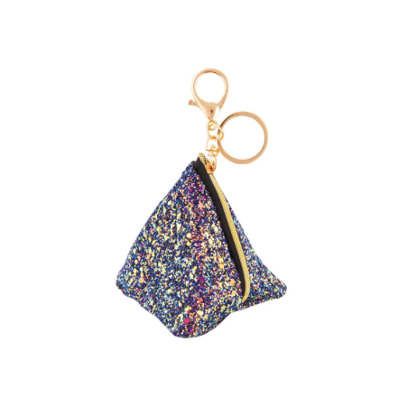 Chunky Glitter Triangle Pouch Bag-Charm Midnight