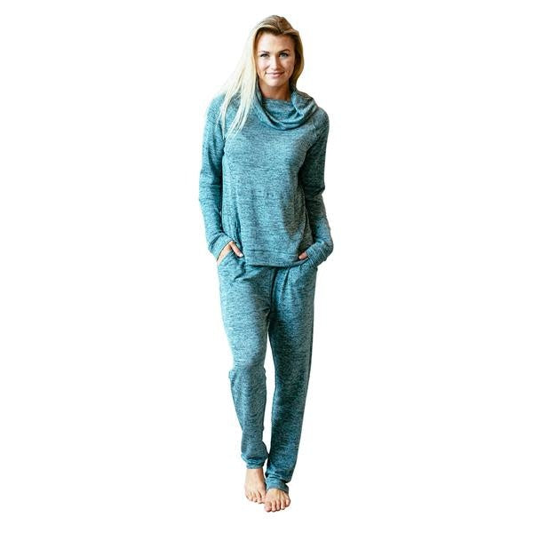 Carefree Threads Cowl Neck Lounge Top, Teal