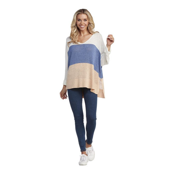 Blue Lincoln Color-Block Sweater