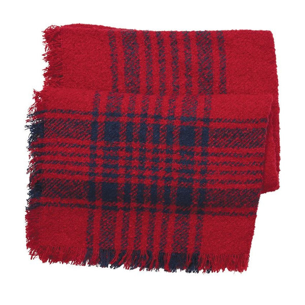 Boucle Square Scarf Red