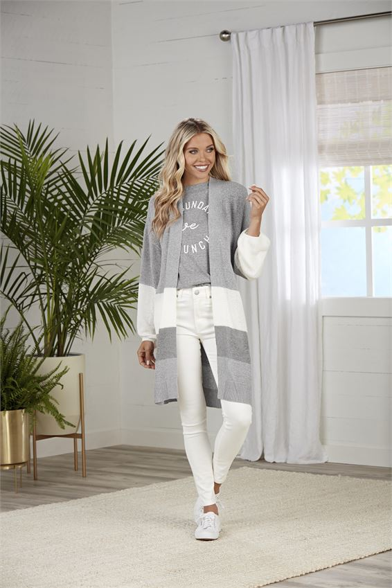 Gray Nylah Stiped Cardigan