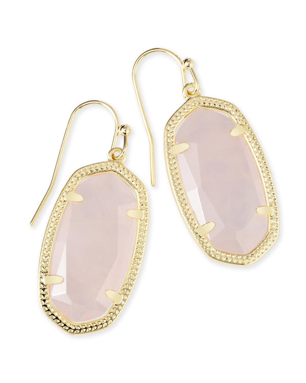 DANI EARRING GOLD ROSE QUARTZ