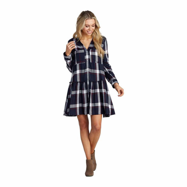 Decker Navy Plaid Flounce Dress