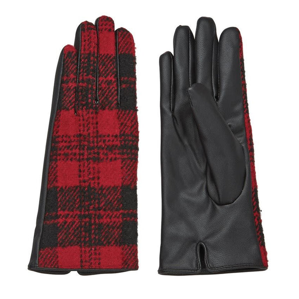 Plaid Gloves red