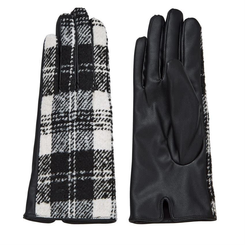 Plaid Gloves White