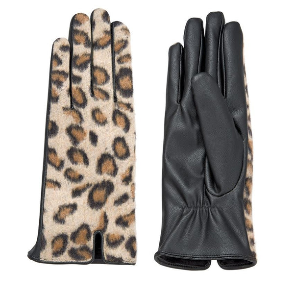 Leopard Gloves Tan