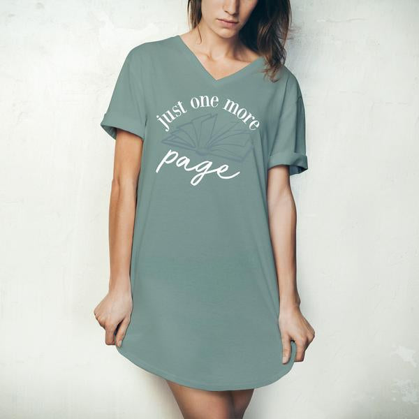 Sleep Shirt - Just One More Page - Green