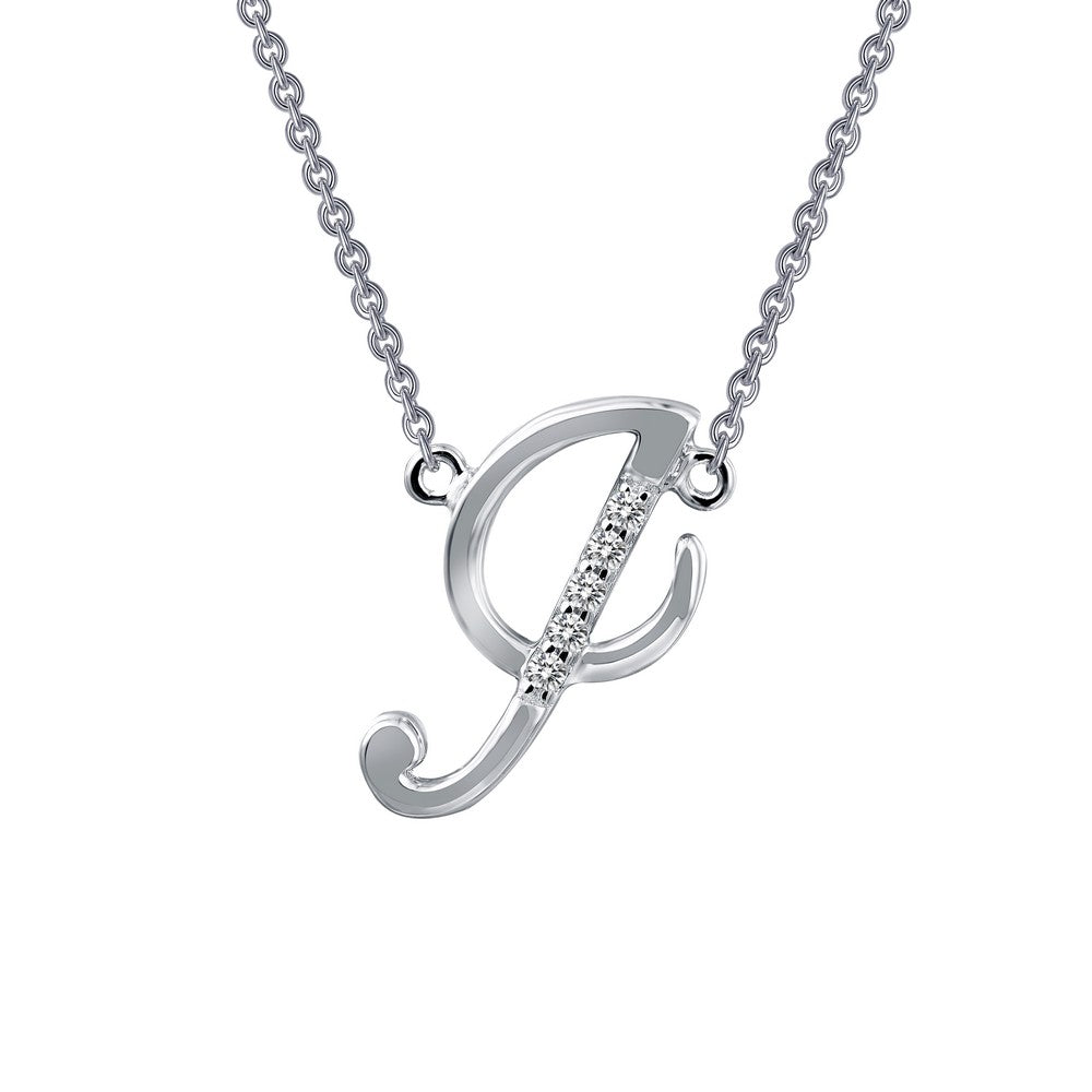 Platinum Simulated Diamond Script Initial I Necklace ( CTTW:0.05 | US: 18 )