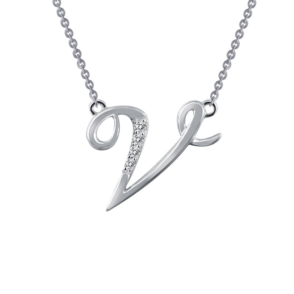 Platinum Simulated Diamond Script Initial V Necklace ( CTTW:0.04 | US: 18 )