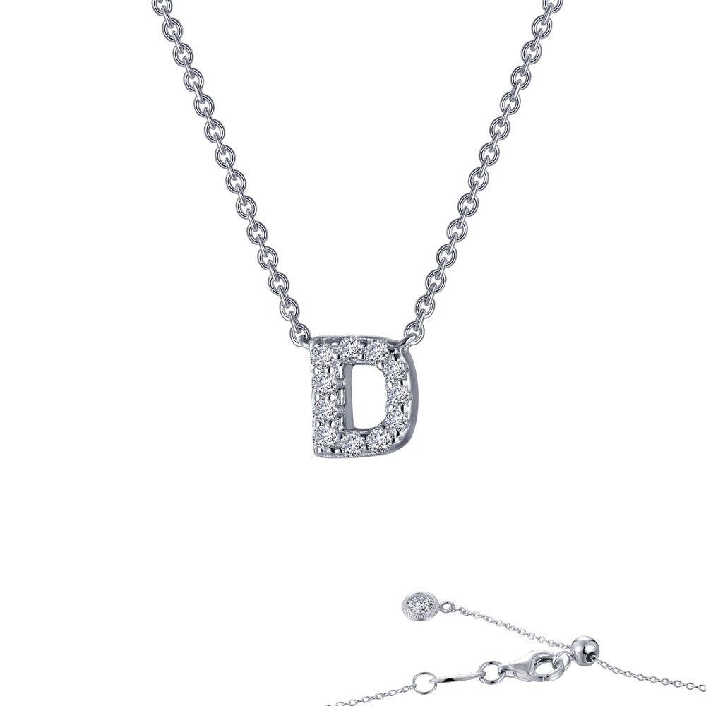 Platinum Simulated Diamond Block Initial D Necklace ( CTTW:0.4 | US: 20 )