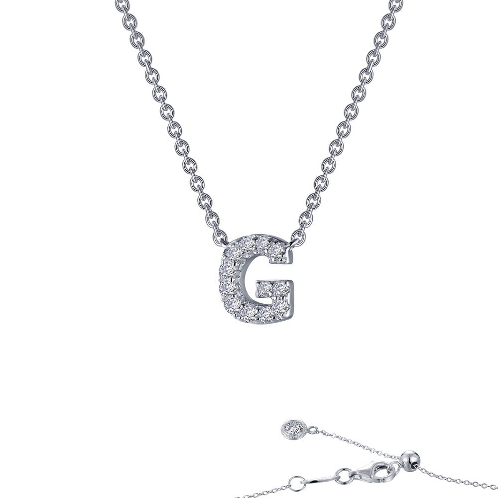 Platinum Simulated Diamond Block Initial G Necklace ( CTTW:0.38 | US: 20 )