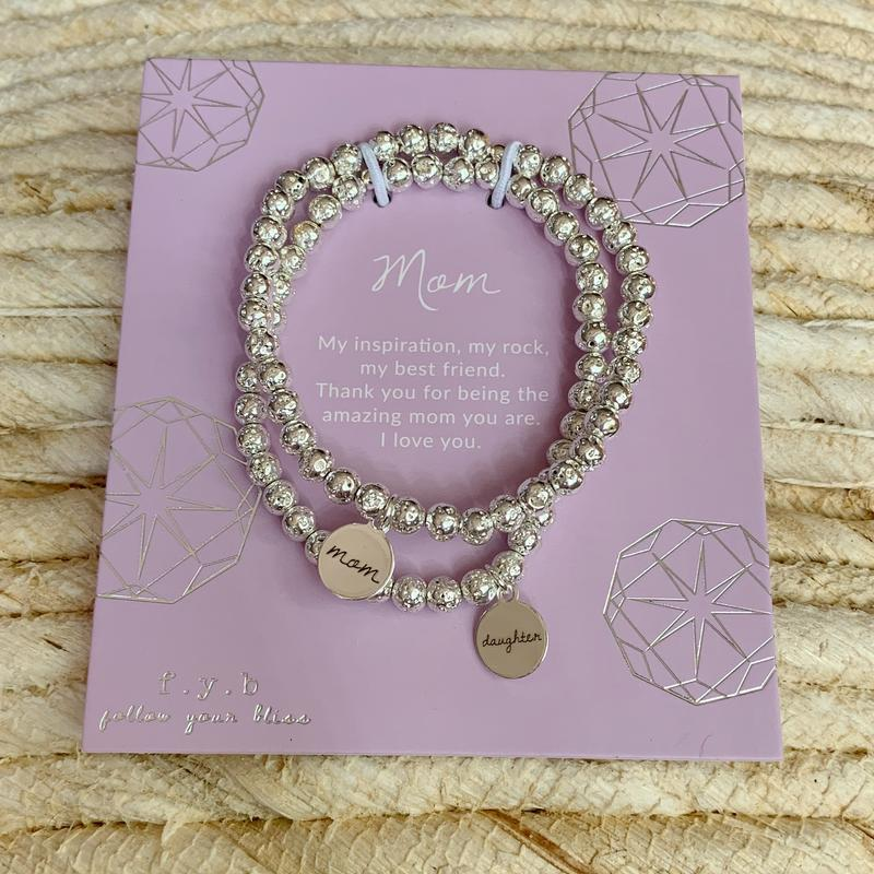 Silver Lavastone Mother Daughter Bracelet Set