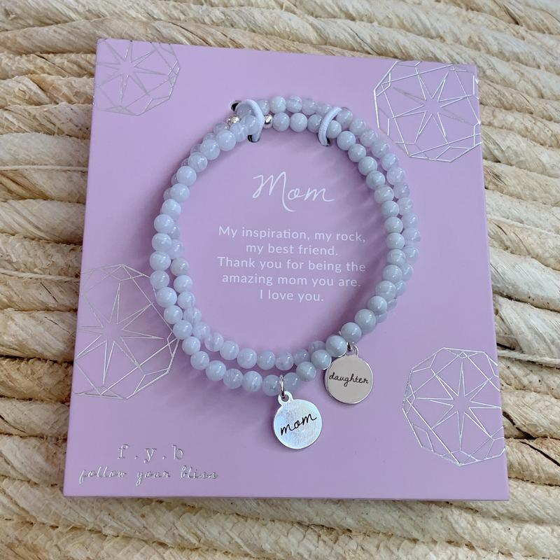 Blue Lace Agate Mother Daughter Bracelet Set