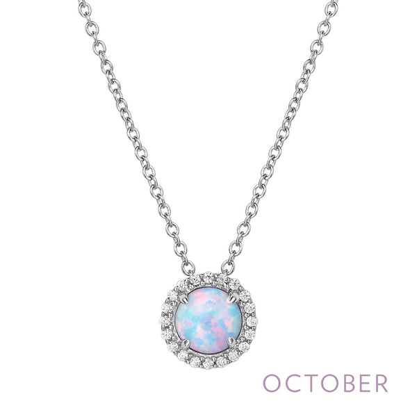 BIRTHSTONE Platinum OCTOBER NECKLACES ( CTTW:Simulated Opal: RD 6mm.   Lassaire simulated diamonds: 0.20 cts. | US: 18 )