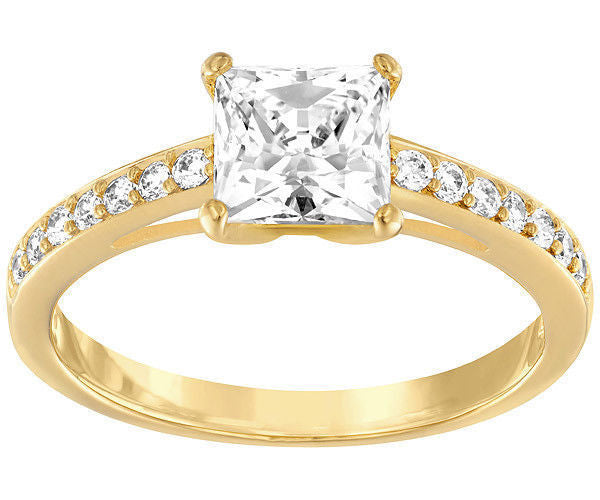 Attract Ring Square, White, Gold Plating