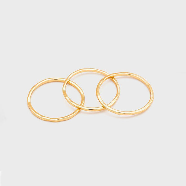 G Ring Set, Set of 3, Gold