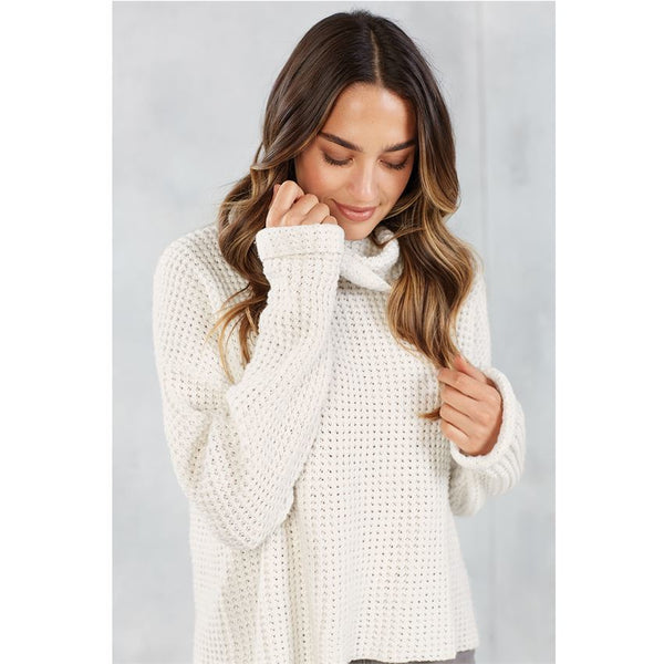 Wendy Waffle Knit Sweater, Cream