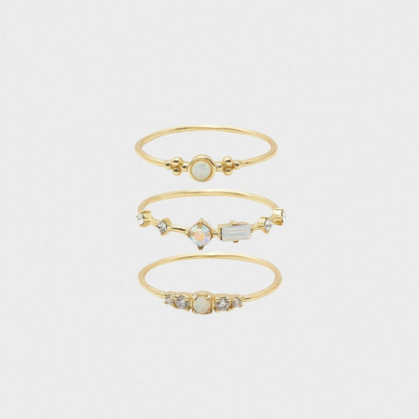 Dani Ring Set, White Iridescent Crystal, Gold - Set of 3 8