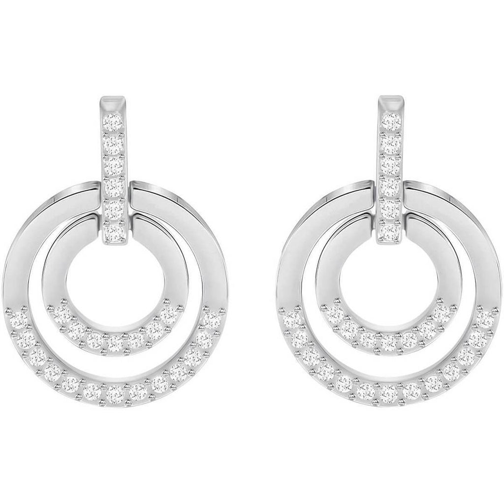 Circle Pierced Earrings, White, Rhodium plated
