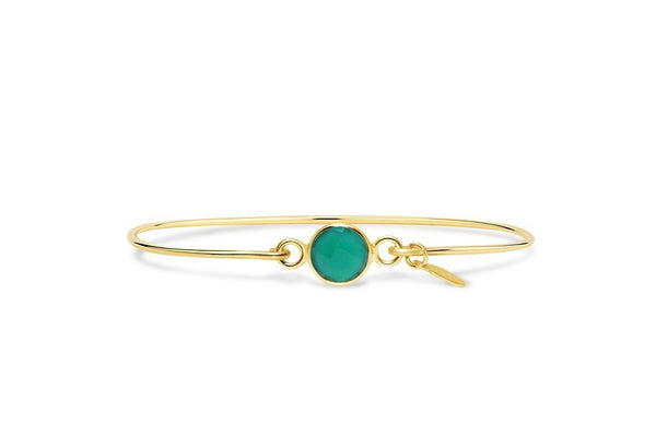 May Birthstone - Gold Signature Skinny Emerald Green Onyx Bracelet