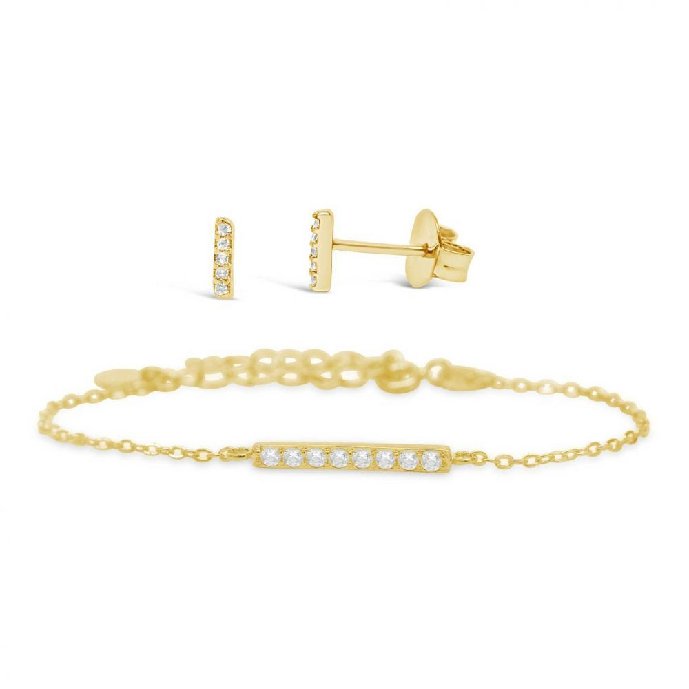 The Perfect Pair - Pave Bar Bracelet and Earring Set, Gold